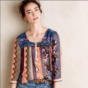 Anthro Vanessa Virginia Embroidered Patchwork Top